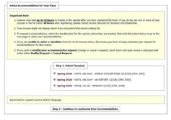 screenshot of accommodation custimization options