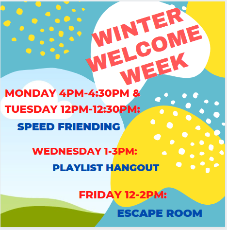 flyer for welcome week winter 2021